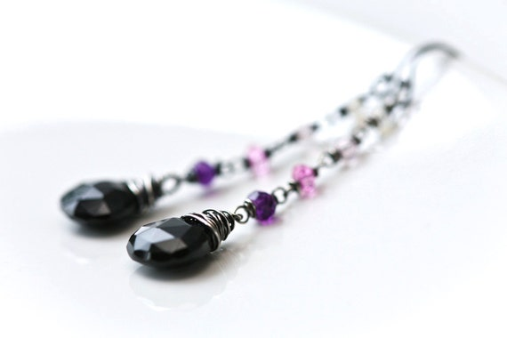 Purple Night - Black Onyx Pink Purple Amethyst Long Sterling Silver Earrings