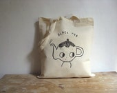 Tote bag cotton -  MADE TO ORDER. Teapot. Black Tea