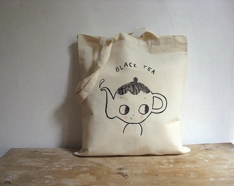 Tote bag cotton -  MADE TO ORDER. Teapot. Black Tea