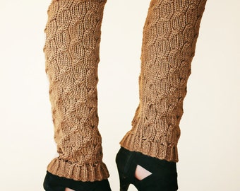 Knit Leg Warmers Knit Boot Socks adult warmers Dancer Leg Warmers Brown Cable Leggings Knee High Leg Warmers