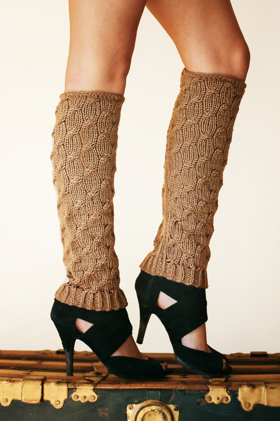 Knit Leg Warmers Knit Boot Socks adult warmers Dancer Leg Warmers Brown Cable Leggings Knee High Leg Warmers