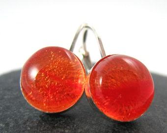 Orange Glass Earrings - Modern Sterling Silver Leverbacks - Midsummer Bonfire