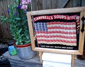 """Tin Sign Wall CabineT-- """"CAMPBELL'S  SOUPS FLAG""""--wiTh PaPer Towel hoLDer--NeW DeSign"""