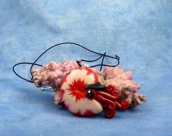 Burgundy Nautilus Necklace, Dark Red Polymer Clay Cephalopod Jewelry