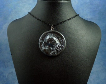 Antique Silver Cthulhu Cameo Necklace with Chain, Handmade Polymer Clay Jewelry