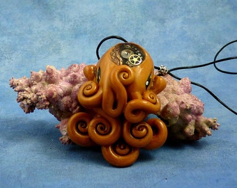 Brass Steampunk Octopus Necklace, Handmade Polymer Clay Jewelry