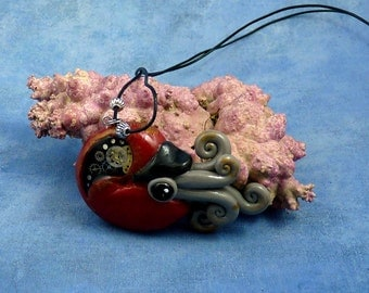 Gilded Steampunk Nautilus Necklace, Polymer Clay Cephalopod Jewelry