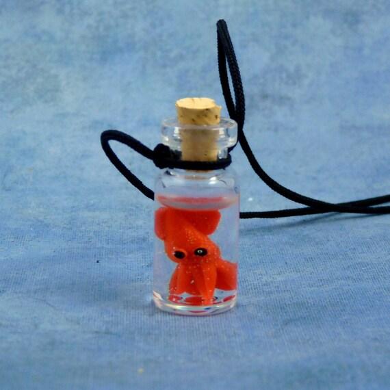 Squid Specimen Jar Necklace, Handmade Biology Jewelry