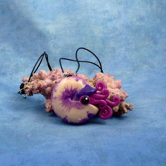 Violet Nautilus Necklace, Vivid Purple Handmade Polymer Clay Jewelry