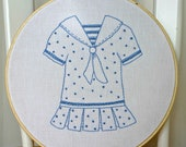 Nursery Decor Hand Embroidery Hoop Art Baby Girl Room Wall Hanging Blue Vintage Dress MADE TO ORDER