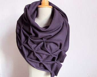 geometric wool shawl dark purple-superwarm sculptural wrap - triangular 100% wool scarf in aubergine