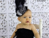 Baby Mini Top Hat Headband Fascinator - Black & Silver Baby Over The Top Flower Headband - Toddler/Girl Holiday/Pageant Photo Prop