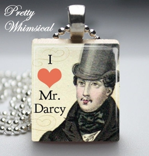 Jane Austen Jewelry - Mr Darcy - Scrabble Tile Pendant