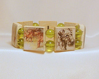 IRISH TERRIER SCRABBLE Bracelet / Dog Lover Gift / Upcycled Handmade Jewelry