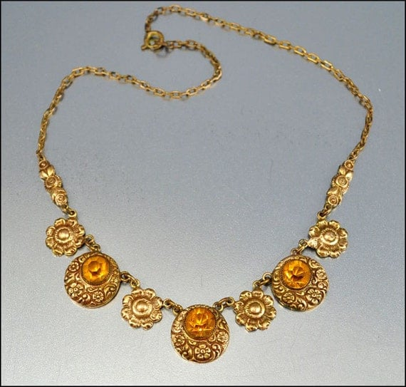 Art Deco Necklace Gold Embossed Flower Glass 1930s Vintage Jewelry Amber Crystal