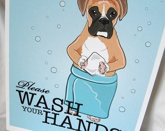 Wash Your Hands Boxer - 8x10 Eco-friendly Print
