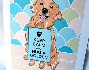 Keep Calm Golden Retriever with Scaled Background - 7x9 Eco-friendly Print