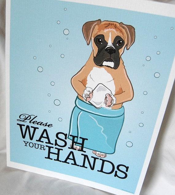 Wash Your Hands Boxer - 8x10 Eco-friendly Print