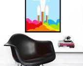 Retro poster rainbow print space rocket mid century modern nursery art kids bedroom office - Rainbow Rocket - 50 x 70 cm