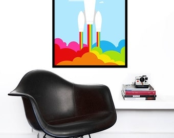 Retro poster rainbow print space rocket mid century modern nursery art kids bedroom office - Rainbow Rocket - 50 x 70 cm
