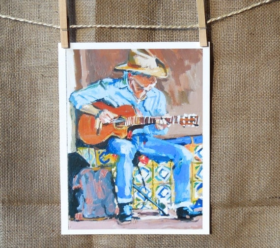 Western Cowboy playing guitar Street Musician Southwestern  Art Print 8x10, Cowboy Stetson Hat Strumming Guitar Painting by Gwen Meyerson