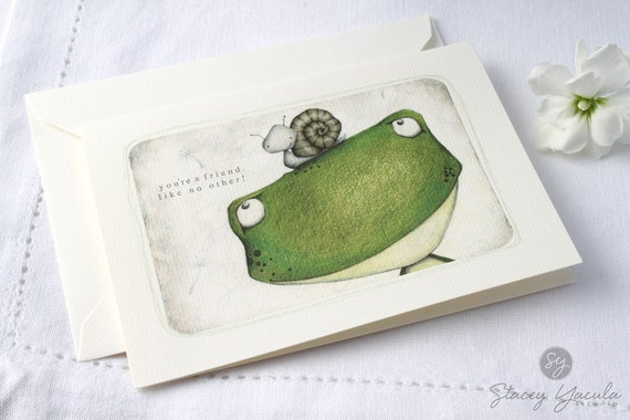 """greeting card - frog - snail - friend - garden - stationery - """"STUCK ON YOU! """""""