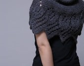 Hand knit  capelet/ poncho in charcoal