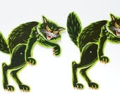 ON SALE 2 Vintage Beistle Scratch Cats Large Die - Cut Scary Jointed Black Cats Halloween Decorations USA