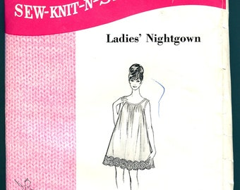 Babydoll Nightie Sew Knit N Stretch 214 Vintage Sewing Pattern 1960s Nightgown Lingerie Sizes S   M   L Kerstin Martensson No Instructions