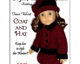Doll Coat knitting pattern, fits American Girl, Gali Girl, 18 inch 031