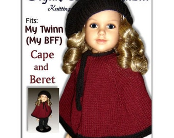 Knitting Pattern fits My Twinn (My BFF), 23 inch dolls. Cape and Beret. PDF,  Instant Download 618