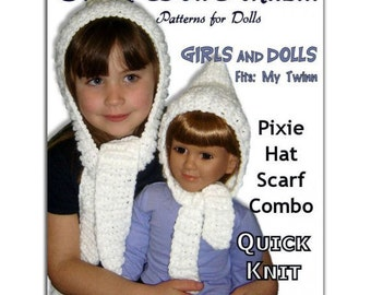 Knitting pattern. Matching Girl and Doll Pixie Hat, Scarf Combo. 23 inch doll, My Twinn, Instant Download