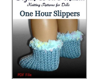Knitting Pattern, PDF, fits American Girl Doll, Knit, One hour slippers 100 Instant Download
