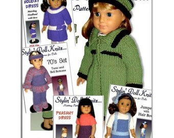Knitting Patterns for 18 inch and American Girl doll clothes. PDF Instant Download