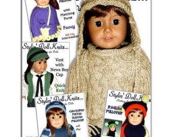 Knitting patterns. Doll Sweaters, Fit 18 inch and American Girl Doll. PDF Instant Download