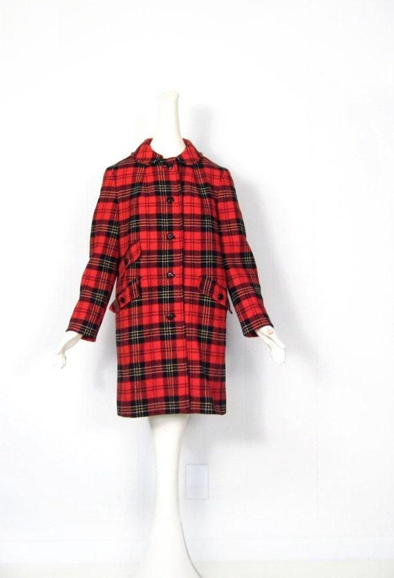 Pendleton Plaid Coat / Vintage 1950s Coat / Red Plaid Coat / S M