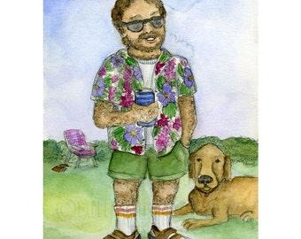 Socks and Sandals Man print