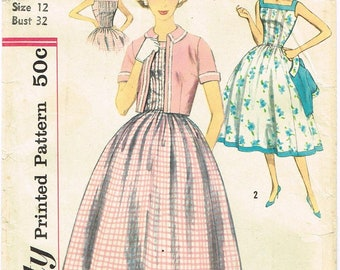 Vintage 1950's Summer Dress Pattern with Jacket Size 12 Simplicity 2448