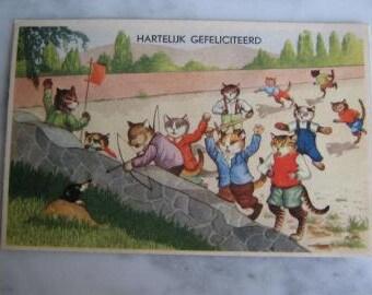 Vintage. Dressed Cats. Dutch Illustrator Postcard Dressed Cats Happy Birthday. 1950 era