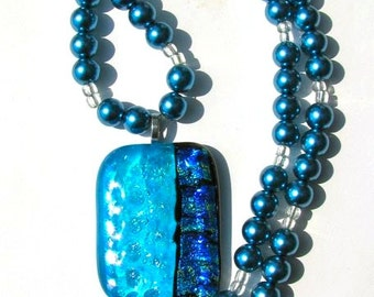 Teal and Black Multi-Colored Beaded Fused Dichroic Necklace