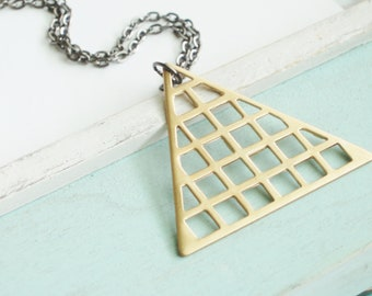 Triangle Necklace - Geometric Brass Necklace - Fall Fashion Simple Mod Minimal