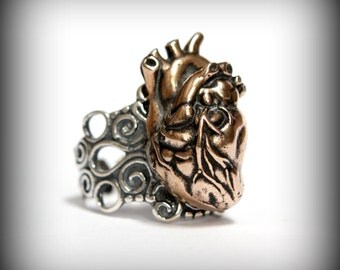Anatomical Heart Ring in Solid Bronze on Adjustable Silver Filigree Ring Band Heart Ring 165