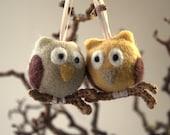 Owls ornament Needle felted 2 owls hanging ornament crochet wooden branch gift for her woodland nursery decor fantasy bird grey beige