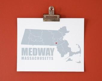 Custom Massachusetts Map Print - 8x10 Poster