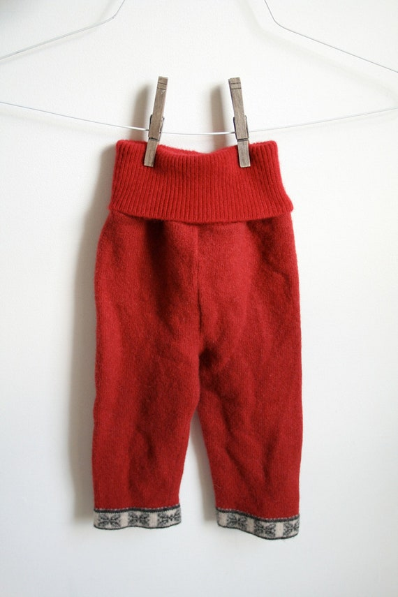 Red Longies, medium Wool Cloth Diaper Cover, wool pants, reclaimed upcycled wool with a high waist