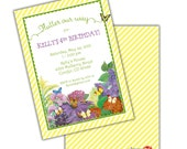 Girl's BUTTERFLY and FLOWER GARDEN Printable Birthday Party Invitation Realistic Customizable Printing Available