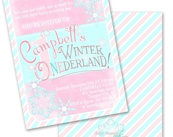 WINTER ONEDERLAND Printable Party Invitation Printing Available