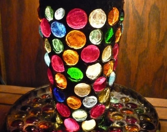 Heavy Gothic Stained Glass Mosaic Smudge Pot / Storage & Candle Holder - Large