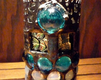 Winter Night Stained Glass Snowflake Luminaire / Candle Holder  - Christmas