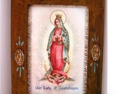 Vintage Guadalupe Antiqued Shrine and Photoframe-     Shrine of our Lady